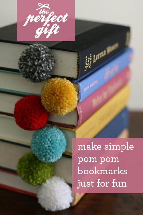 I made these. Easy, fun, and cute:) DIY pom pom bookmark