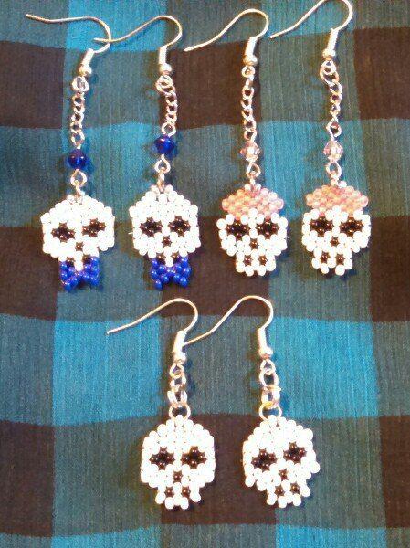 #beads #earrings #halloween #sceleton