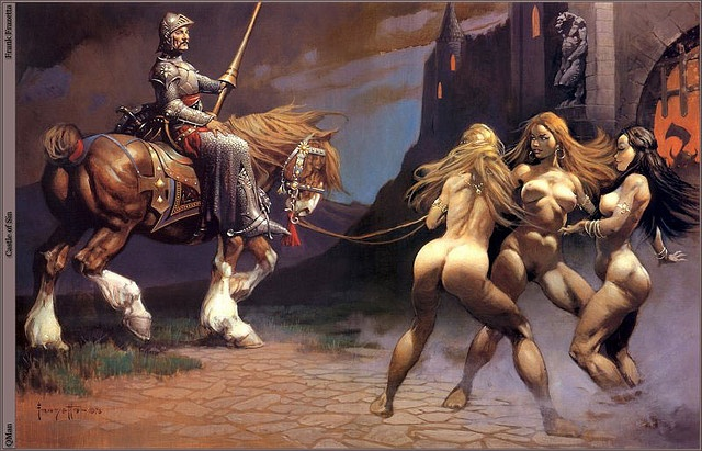 Frazetta Castle of Sin -- I love how loose some of his brushwork gets.: Frazetta Frank, Frankfrazetta, Favorite Artists, Frazetta Castles, Artists Frank, Fantasy Art, Frank Frazettafantasi, Astonish Fantasy, Frazetta Art