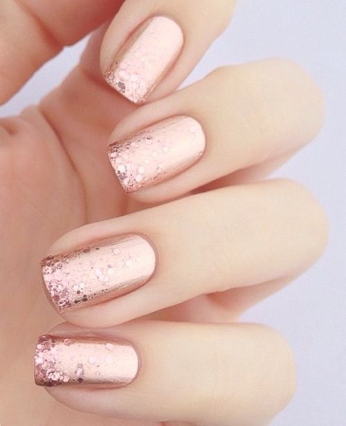 Rose gold nails with glitter in the finger tips! Luvvvvvv it