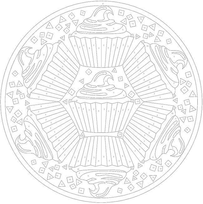 Cupcake ColorByNumber Mandala Coloring