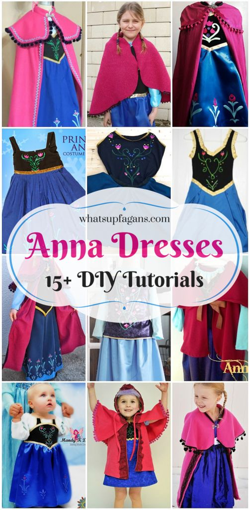 15+ DIY Princess Anna Dress and Cloak Tutorials! So awesome! My daughter wants to be Anna for Halloween thanks to Disney's Frozen movie. Love these craft ideas for her costume.