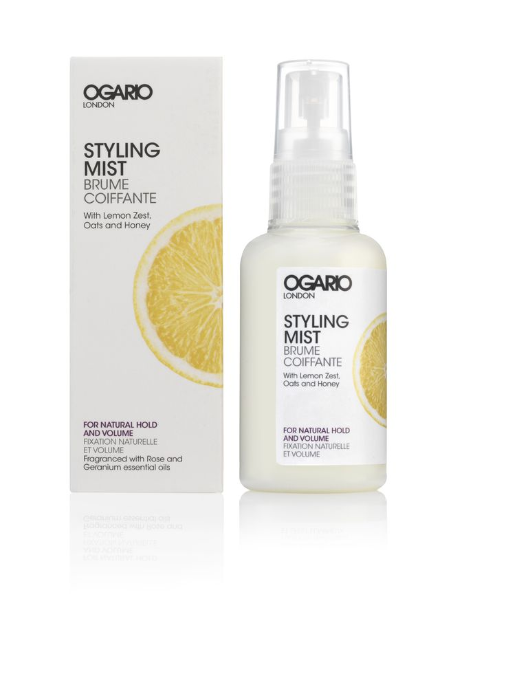 Styling Mist for Natural Hold and Volume 60ml. Boost volume and control as you style with this light mist, containing lemon zest and oats to infuse hair with shine and strength for a full, glossy finish. Suitable for all hair types, the Ogario London Styling Mist for Natural Hold and Volume contains innovative complex MICROKERA™, which utilises microcapsules of keratin and argan oil to target damaged hair and seal split ends.