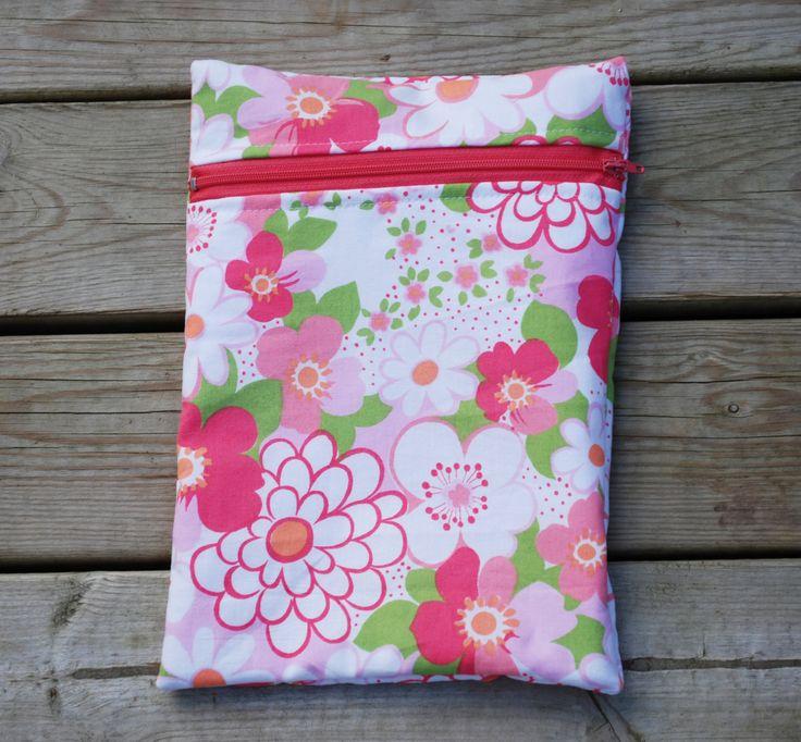 Pink flower wet bag - cloth pad bag - swim wear bag - cloth diaper bag - snack bag - waterproof bag - diaper storage bag - nappy storage bag by leonorafi on Etsy