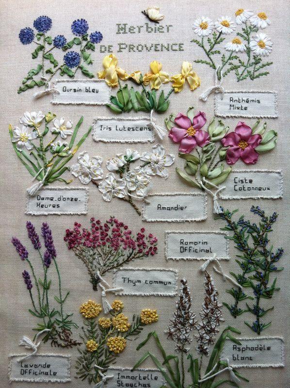: Stones Foxes, De Provence, Ideas, Embroidery, Herbs, Ribbons Flowers, Ribbons Embroidery, Silk Ribbons, Stitches