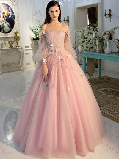 d3d57c0bb5 Long Sleeve Prom Dresses Pearl Pink Ball Gown Long Floral Fairy Prom Dress