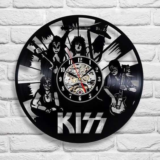 Kiss Exclusive Wall Clock Made Of Vinyl Record Gift Vinyl Record