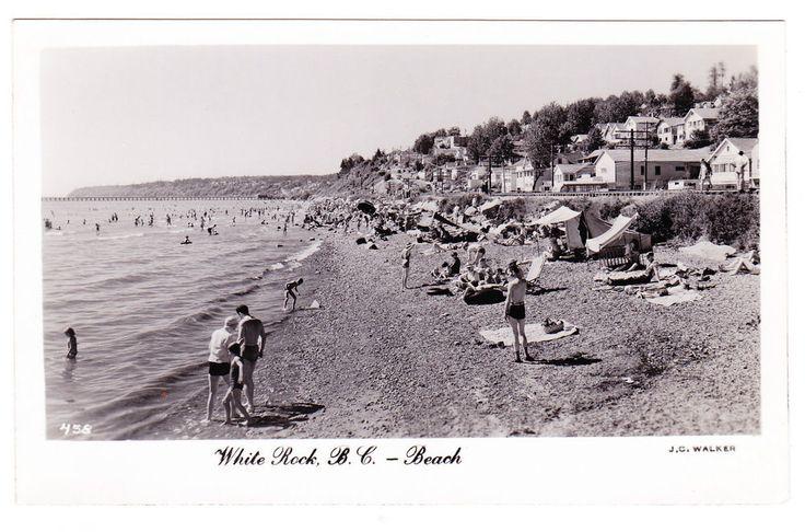 BC – WHITE ROCK, Beach and Marine Drive, Walker c.1952-1953 RPPC