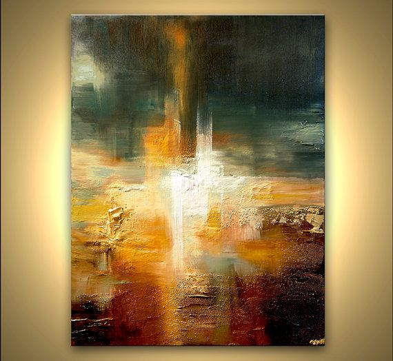 "Original Contemporary Abstract Painting Textured Gold Colorful Modern Palette Knife by Osnat 48"" x 36"""