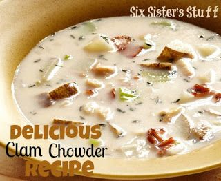 Delicious Clam Chowder Soup Recipe from sixsistersstuff.com #soup #recipe