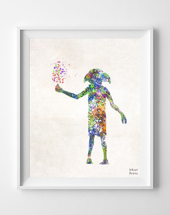 Harry Potter Print Dobby Watercolor Nursery Art by InkistPrints, $11.95 - Shipping Worldwide! [Click Photo for Details]