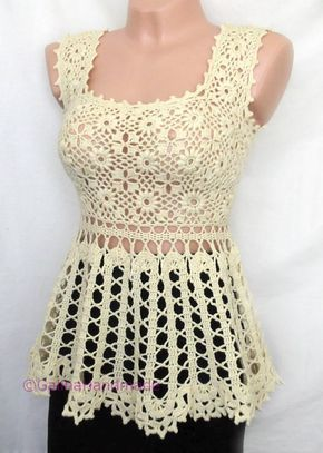 Crochet Summer Top Tunic Swimwear Cover Up  Irish Lace Bruges  Lace Yellow