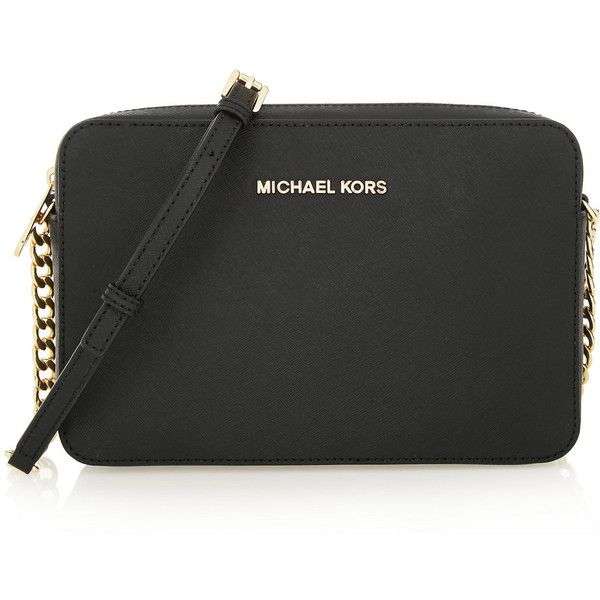 MICHAEL Michael Kors Jet Set Travel large textured-leather shoulder... ($135) ❤ liked on Polyvore featuring bags, handbags, shoulder bags, black, black handbags, travel crossbody, black shoulder bag, black purse and crossbody travel purse
