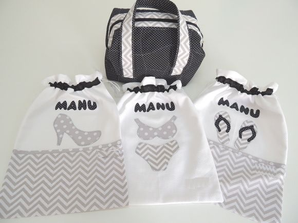 Kit de viagem composto por:  01 saco sapato  01 saco lingerie  01 saco chinelo  01 frasqueira      Pode ser confeccionado em outras cores e estampas.    Tecido 100% algodão de alta qualidade.