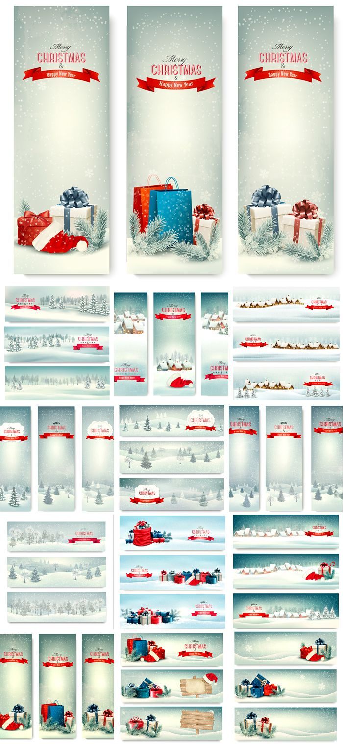 Блог Колибри: Christmas banners with winter snow vector
