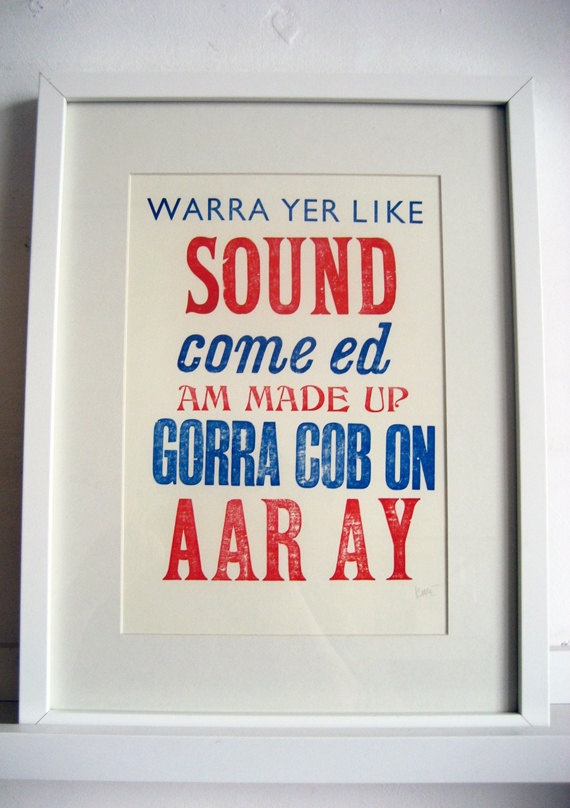 Liverpool Scouse Sayings by TheRedButtonPress on Etsy, £25.00
