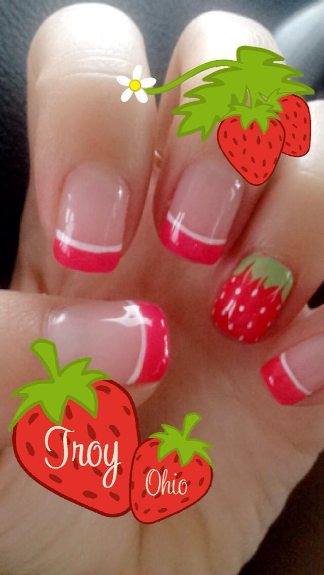 Cute strawberry nails for the strawberry festival