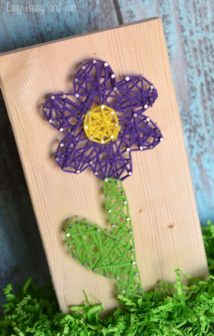 Flower String Art - String Art for Kids - Easy Peasy and Fun