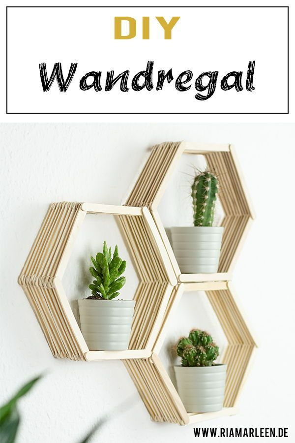 DIY Waben Wandregal aus Eisstäbchen basteln