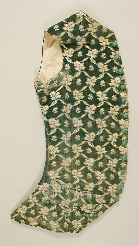 Suit Date: 1760–80 Culture: French. I like this fabric a lot!  It appears to be a linen.
