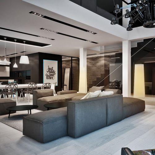 Living room design in home POLAND - archi group. Pokój dzienny w domu jednorodzinnym w Rudzie Ślaskiej.