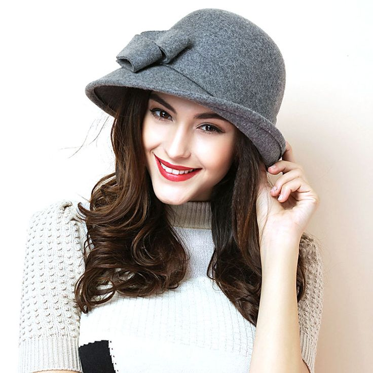 2015 New Autumn Winter Noble European American Elegant Girls Fashion Cap Ladies Bucket Hat Women Wool Fedora Hat