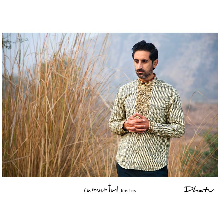 """""""Dhātu Safe Pocket Shirt"""" Khadi Print Occasion Wear Pieced Shirt.  A cache for your cash, our special construction integrates the concealed front closure with a utilitarian 'anti-flip pocket' - system that does not sag but distributes weight  for a clean structure. 'Elbow pleat' re-structures the mandatory ease away from the cuff for an ergonomic slim sleeve."""