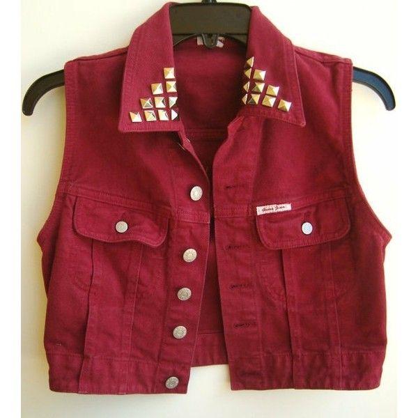 Red Denim Vest Vintage Guess Sleeveless Jean Jacket Studded Jean Vest... ❤ liked on Polyvore featuring outerwear, vests, jackets, tops, denim jacket vest, red vest, sleeveless jean jacket, red denim jacket and sleeveless denim jacket