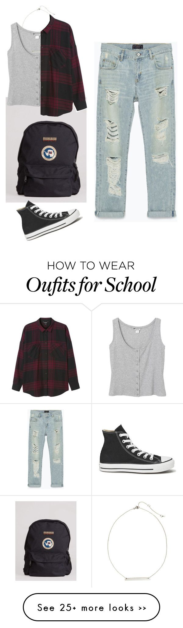 """""""Back to school"""" by laila0099 on Polyvore featuring Napapijri, Zara, Monki, H&M and Converse"""