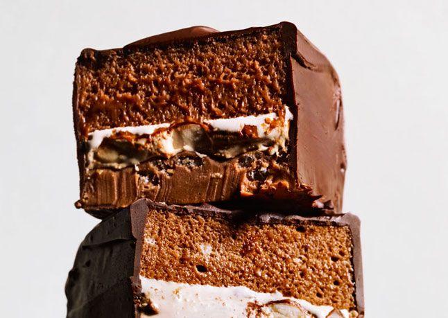 """snickers"" bar ++ via bon appetit / recipe . breanne varela of tavern . LA"