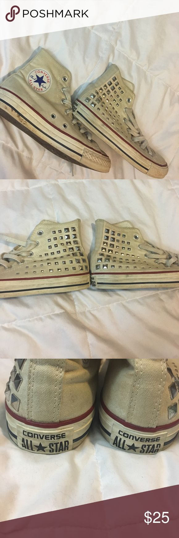 Studded Cream Converse These Converse are cream in color and I bought them at a Converse Outlet store. They were studded when I bought them and are in great condition. I will clean the toes and edges before shipping. They are meant to have a vintage look. No damage and no rhinestones missing. This is a dog friendly and smoke-free house. Converse Shoes