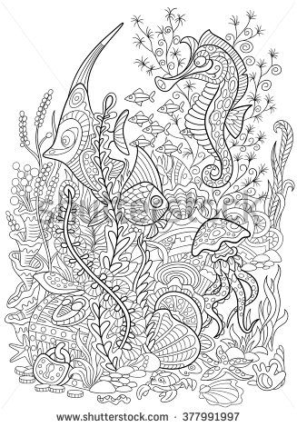 Zentangle Stylized Cartoon Fish Seahorse Jellyfish Crab