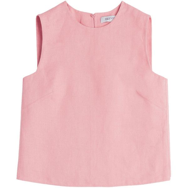 Valentino Doubleface Linen Top ($290) ❤ liked on Polyvore featuring tops, shirts, crop top, tank tops, rose, boxy shirt, pink tank top, slim fit shirt, slimming tank and rose shirt