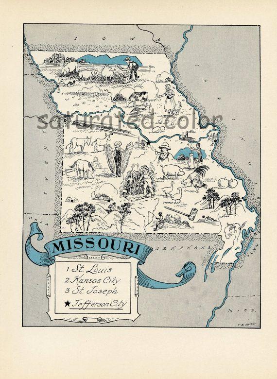 Missouri Map 1931 Original Vintage Picture Map Antique Charming Teal Aqua St Louis Kansas City St Joseph Jefferson City Rare Usa Map