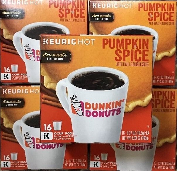 NEW Pumpkin Spice K Cup Dunkin Donuts Keurig  80 Pods Total Coffee 5 Boxes #DunkinDonuts