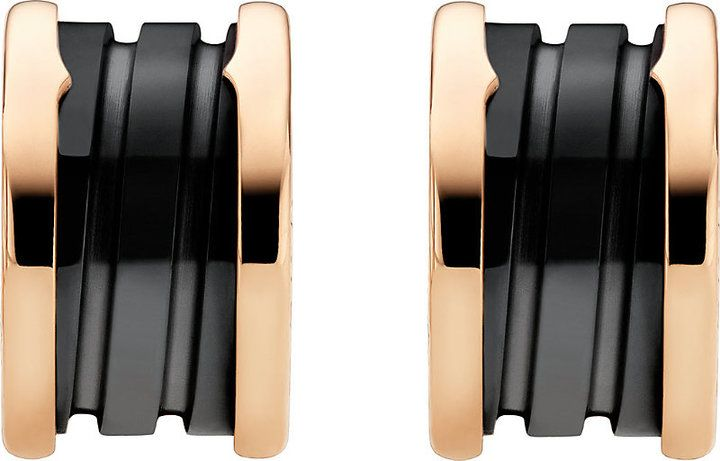 Bvlgari B.zero1 18kt Pink-Gold Earrings With Black Ceramic