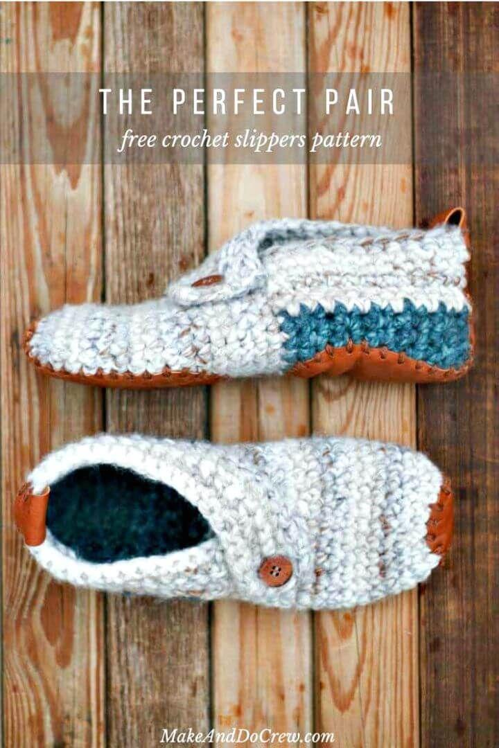 Free Crochet Women's Sunday Slippers – Free Pattern - Crochet Slippers Pattern- 62 Free Crochet Patterns - DIY & Crafts