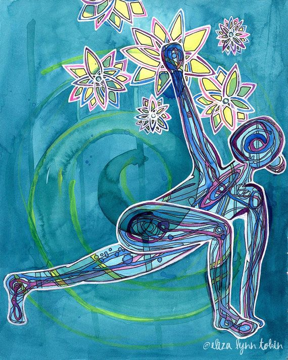 Yoga Art 5x7 Print - Reach - yoga wall art, sacred space decor, yoga artwork…