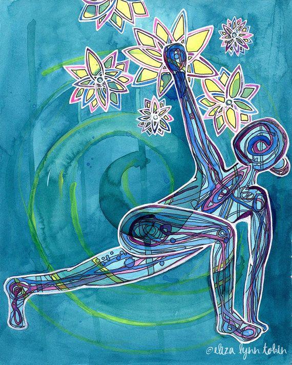 Yoga Art Print | 13x19 | Reach | yoga wall art | yoga room decor | yoga gifts