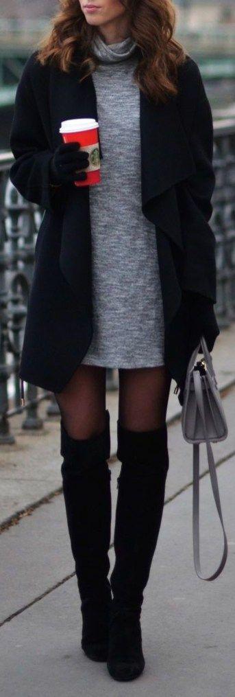 Cute Winter Outfit Ideas for Work for Women - Thigh High Boots Outfit Ideas Turtle Neck Sweater Dress Oversized Coat with Stockings - www.Poshiroo.com