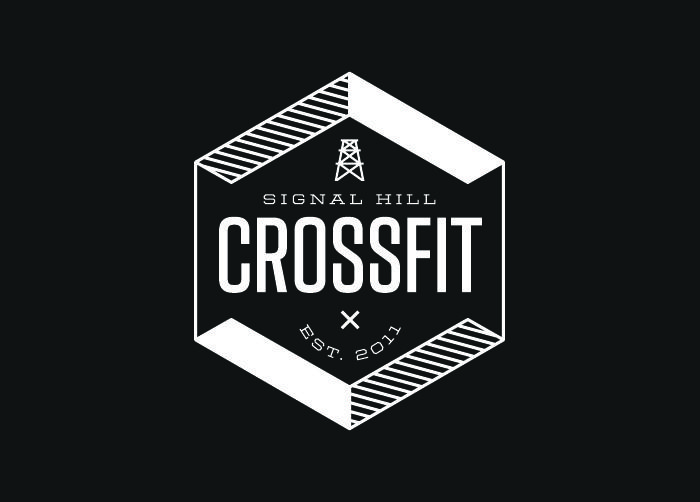 Signal Hill CrossFit Logo and applications for a CrossFit strengthening and conditioning gym by Bryan Ku
