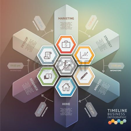 3d arrow timeline infographics Vector illustration can be used for workflow layout banner diagram nu Stock Vector
