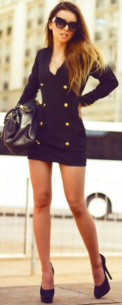 #summer #classy #outfits   Military Blazer Little Back Dress