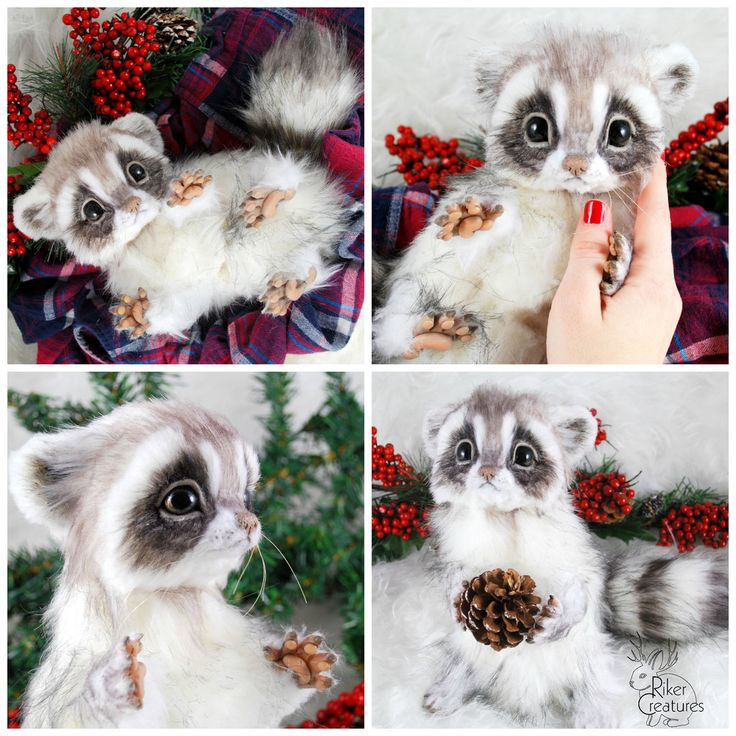Baby Frost Raccoon ~ Poseable Fantasy Creature by RikerCreatures.deviantart.com on @DeviantArt