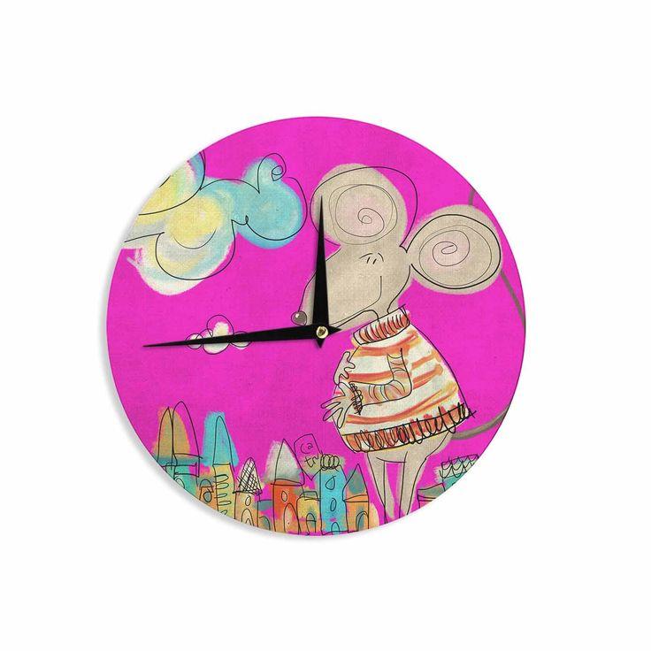 "Carina Povarchik ""Urban Mouse - Magenta"" Pink Yellow Wall Clock"