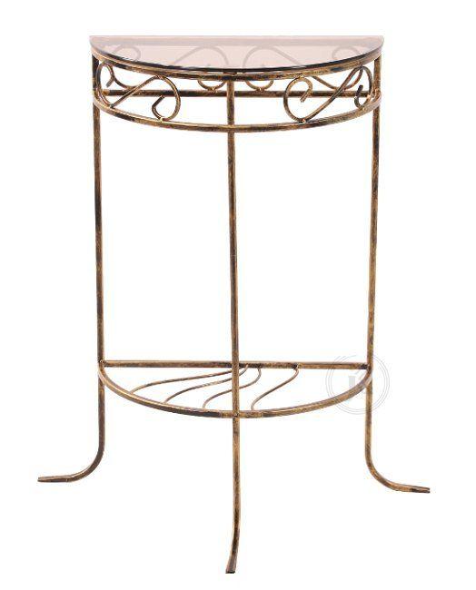 Stolik szklany na metalowej, dekoracyjnej podstawie. - Decoart24 Cena 135PLN