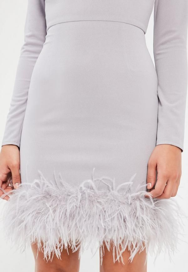 Grey High Neck Feather Trim Dress - Missguided
