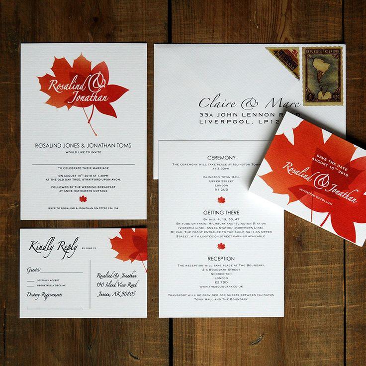 51 best our collection of wedding invitations images on pinterest autumn leaves wedding invitation feel good wedding invitations stopboris Gallery