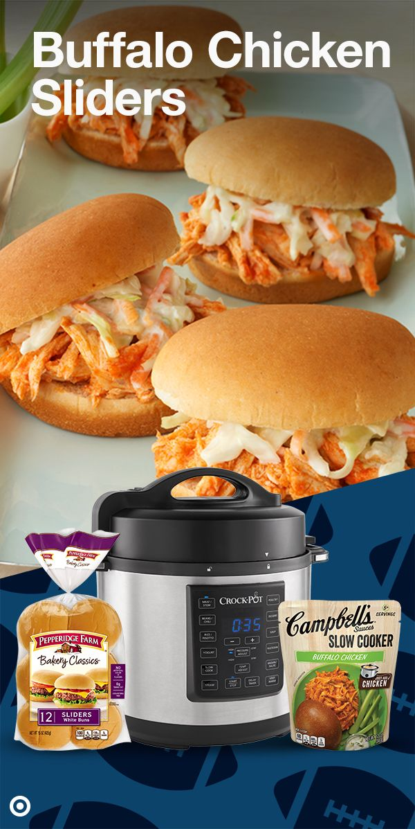 Thrill your guests this game night with these super Sunday sliders! Add Campbell's Buffalo Chicken Slow Cooker Sauce to skinless boneless chicken breast and cook on slow. Now divide the chicken and add coleslaw to Pepperidge Farm White Slider Buns. These awesome sliders are now ready to serve!