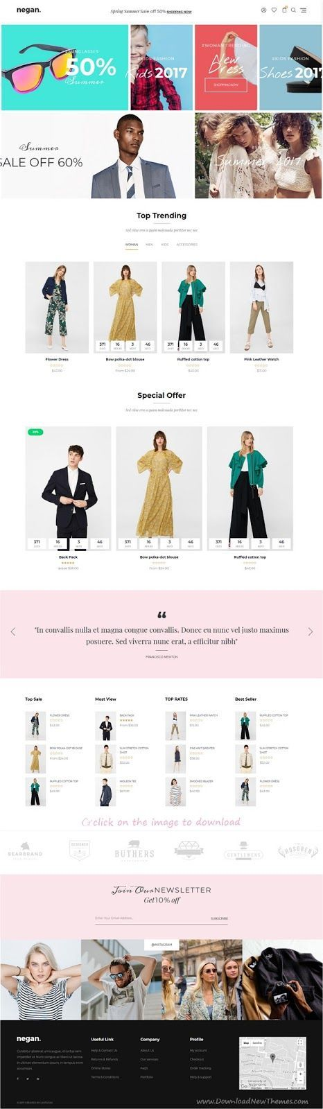 Negan is clean, minimal and modern design responsive Shopify theme for stunning fashion store eCommerce website. It comes with 15+ niche homepage layouts, SEO optimized, wishlist module, product hover, quick view and much more amazing features. #SEOShopify